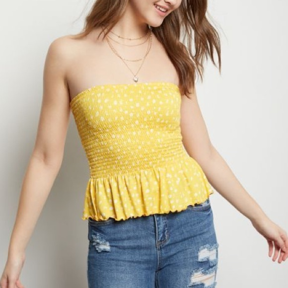 Rue 21 yellow floral tube top